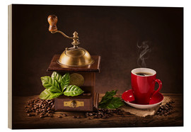 Quadro de madeira  Coffee mill with a cup of coffee - Elena Schweitzer