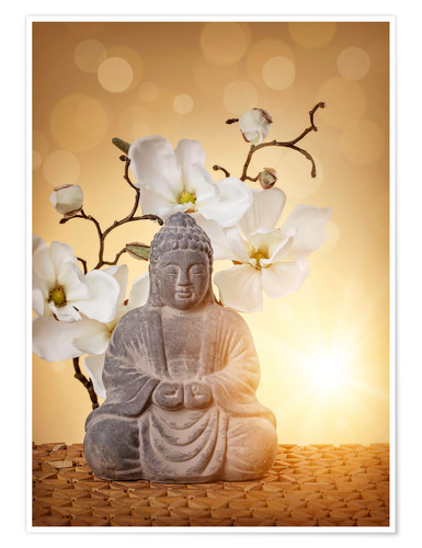Póster Premium Buddha statue and orchid