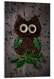 Quadro em acrílico  Coffee owl from beans, leaves and cups - Elena Schweitzer