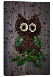 Quadro em tela  Coffee owl from beans, leaves and cups - Elena Schweitzer