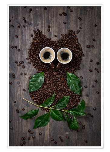 Póster Premium Coffee owl from beans, leaves and cups