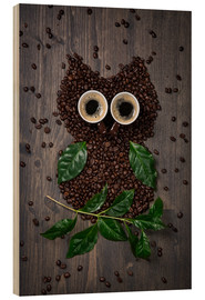 Quadro de madeira  Coffee owl from beans, leaves and cups - Elena Schweitzer
