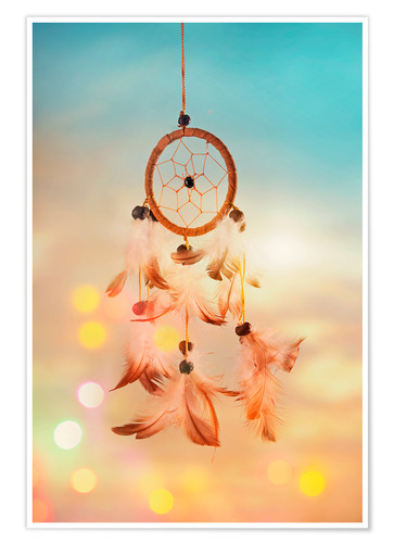 Póster Premium Dream catcher and abstract bokeh background