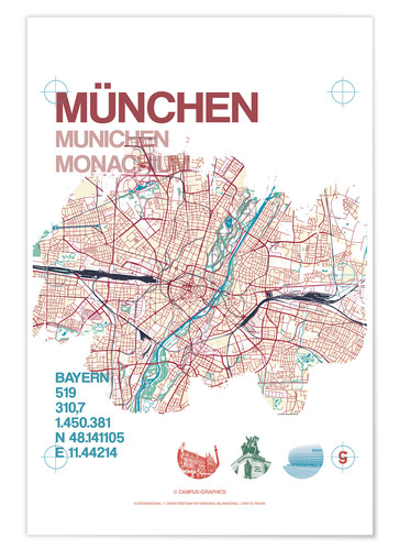 Póster Premium Munich city map