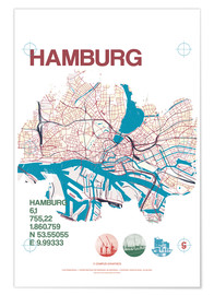 Póster Premium Hamburg city motif map