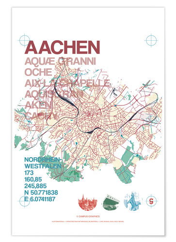 Póster Premium Aachen city motif map
