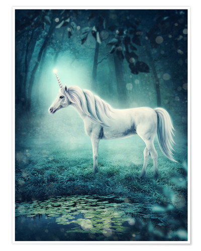 Póster Premium Unicorn in the magic forest