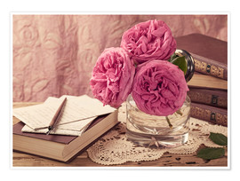 Póster Premium Roses and the books