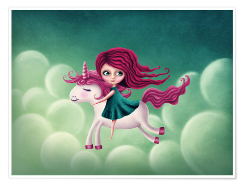 Póster Premium Illustration with a unicorn with a girl