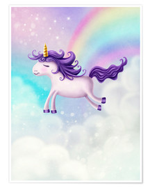 Póster Premium Unicorn with rainbow