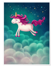 Póster Premium Unicorn and stars