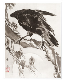 Póster Premium  Crow and the Moon - Kawanabe Kyosai