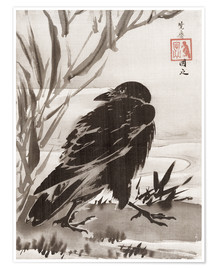 Póster Premium  Crow and Reeds by a Stream - Kawanabe Kyosai