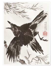 Póster Premium  Crow and Willow Tree - Kawanabe Kyosai