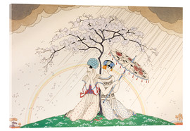 Quadro em acrílico  Two women sheltering from the rain, under a tree - Georges Barbier
