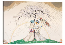 Quadro em tela  Two women sheltering from the rain, under a tree - Georges Barbier