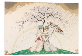 Quadro em PVC  Two women sheltering from the rain, under a tree - Georges Barbier
