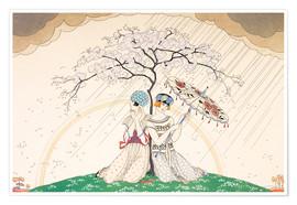 Póster Premium  Two women sheltering from the rain, under a tree - Georges Barbier