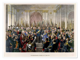 Póster Premium The Proclamation of Wilhelm as Kaiser of the new German Reich