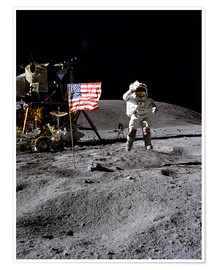 Póster Premium  Astronaut of the 10th manned mission Apollo 16 on the moon