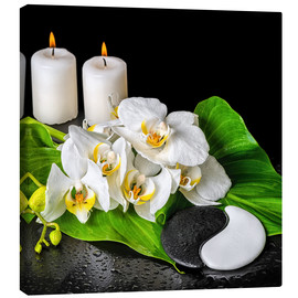 Quadro em tela  Spa concept with candles and orchids