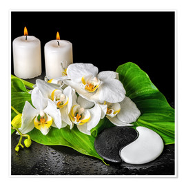 Póster Premium Spa concept with candles and orchids