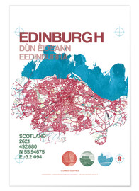 Póster Premium  Edinburgh city map - campus graphics