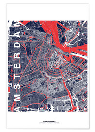 Póster Premium City of Amsterdam Map midnight