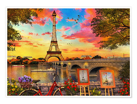 Póster Premium Paris Sunset