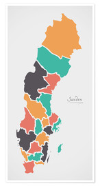 Póster Premium Sweden map modern abstract with round shapes