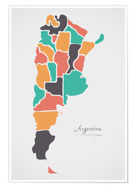 Póster Premium  Argentina map modern abstract with round shapes - Ingo Menhard