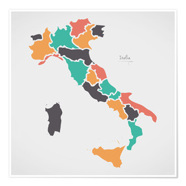 Póster Premium Italy map modern abstract with round shapes