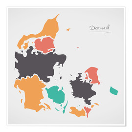 Póster Premium  Denmark map modern abstract with round shapes - Ingo Menhard