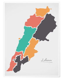 Póster Premium Lebanon map modern abstract with round shapes