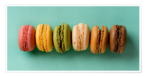 Póster Premium Sweet colorful macarons
