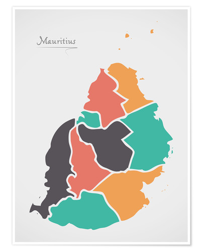 Póster Premium Mauritius map modern abstract with round shapes