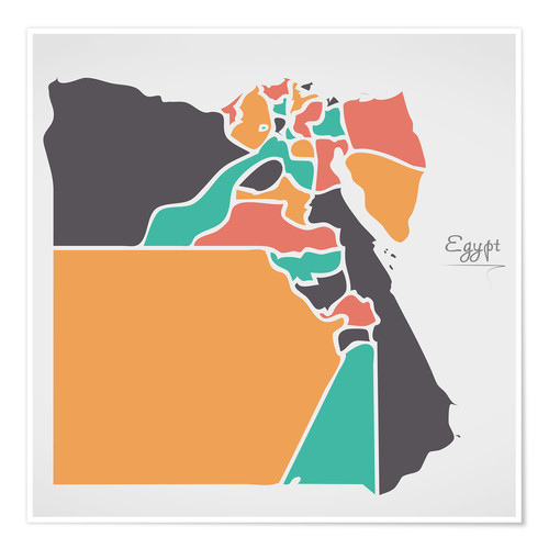 Póster Premium Egypt map modern abstract with round shapes
