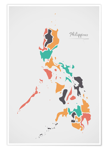 Póster Premium Philippines map modern abstract with round shapes