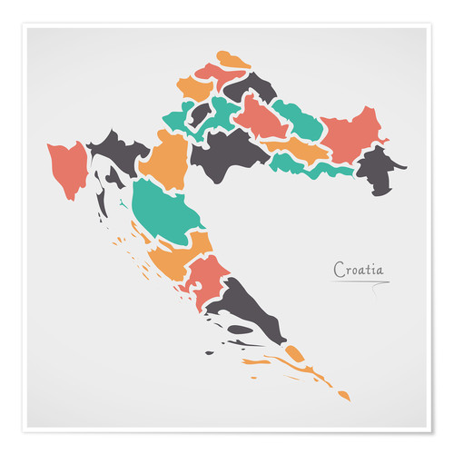 Póster Premium Croatia map modern abstract with round shapes