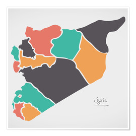 Póster Premium Syria map modern abstract with round shapes