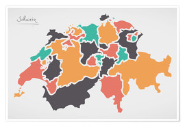 Póster Premium Switzerland map modern abstract with round shapes