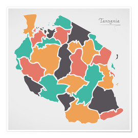 Póster Premium Tanzania map modern abstract with round shapes
