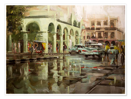 Póster Premium  Havana in the rain - Johnny Morant