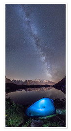 Póster Premium Panoramic of Milky Way on Mont Blanc, France