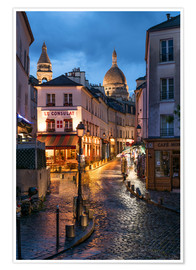 Póster Premium  Street in Montmartre with Basilica of Sacre Coeur, Paris, France - Jan Christopher Becke