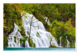 Póster Premium Spring at the waterfalls of Plitvice