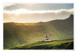 Póster Premium Church in the light, Iceland
