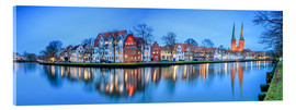 Quadro em acrílico  Panoramic of Lubeck reflected in river Trave, Germany - Roberto Sysa Moiola