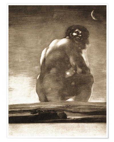 Póster Premium A Giant Seated in a Landscape, The Colossus