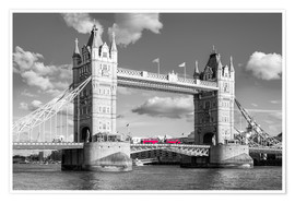 Póster Premium  London, Tower Bridge Black and White - rclassen